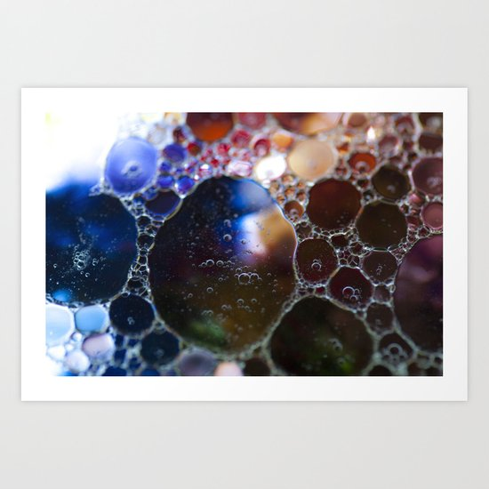 Blue to red bubbles Art Print