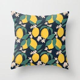 Lemon bloom Throw Pillow