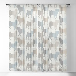 Pugs Pattern - Natural Colors Sheer Curtain