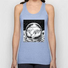astronaut world map black and white 1 Unisex Tank Top