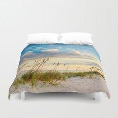 Sea Oats Beach Sunset Duvet Cover