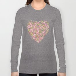 Cherry Blossoms:  Delicate Watercolor Branches, pink on soft lavender Long Sleeve T-shirt