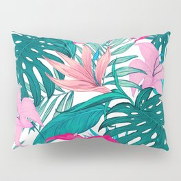 Beautiful Tropical Leaves and Flowers Pillow Sham