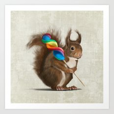 Squirrel with lollipop Art Print