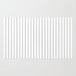White Black Lines Minimalist Rug