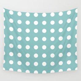 Chalky Blue Polka Dots Wall Tapestry
