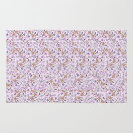 flowers and leaves on pink background . ( https://society6.com/simpledoodles/collection ) Rug