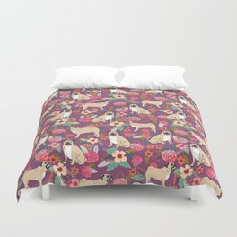 Pug dog breed floral must have cute pugs pure breed pet gifts Duvet Cover