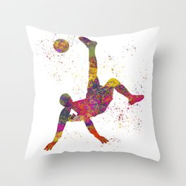 Soccer player isolated 09 in watercolor Throw Pillow