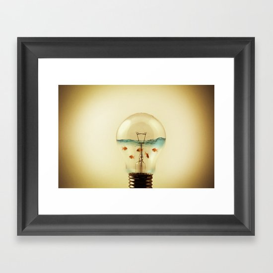 gold fish globe Framed Art Print