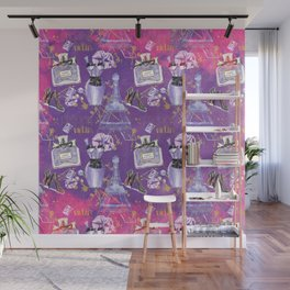 Fashion Victim - Paris France Elegance Shopping Girly in pink and purple Wall Mural
