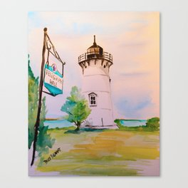 East Chop (Telegraph Hill) Lighthouse Martha's Vineyard Watercolor Canvas Print