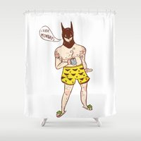 bat Shower Curtains featuring bat by natichuleta
