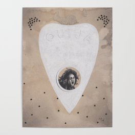 Ouija Planchette with Screaming Spirit Stuck Inside with Stars Poster