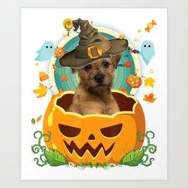 Happy halloween pumpkin border terrier dog witch cute hat  Art Print