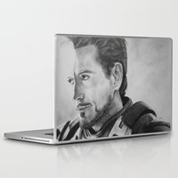 tony stark Laptop & iPad Skins featuring Not the Hero Type - Tony Stark by Charcoal Portraits by Amanda & Terry