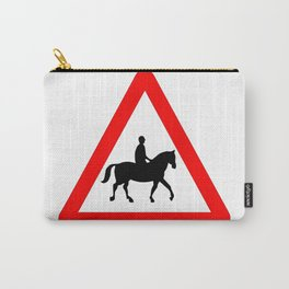 Horse and Rider Traffic Sign Isolated Carry-All Pouch