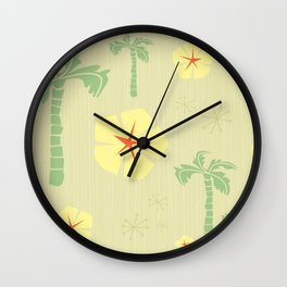 Midcentury Tiki Print Hawaii Retro Vintage Wall Clock