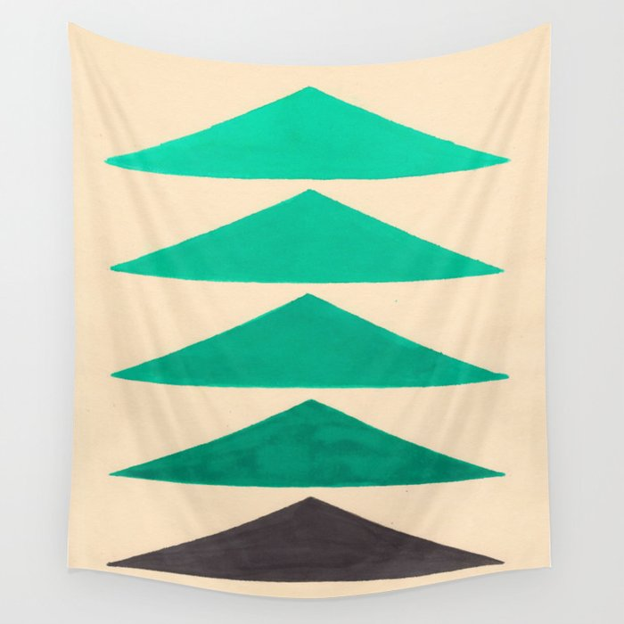 Colorful Turquoise Green Geometric Pattern with Black Accent Wall Tapestry