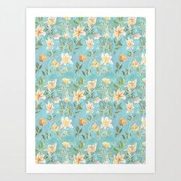 Mint Botanical Pattern Art Print