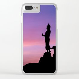 Silhouette of big statue of Buddha Clear iPhone Case