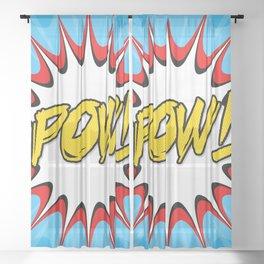 POW! Comic Book Cartoon Art Sheer Curtain