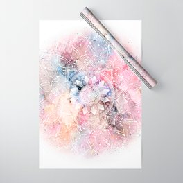 Whimsical white watercolor mandala design Wrapping Paper