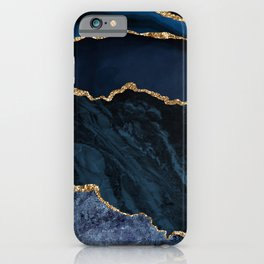 Beautiful Sapphire And Gold Marble Design iPhone Case