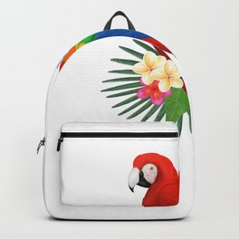 Tropical Macaw Floral Watercolor Backpack