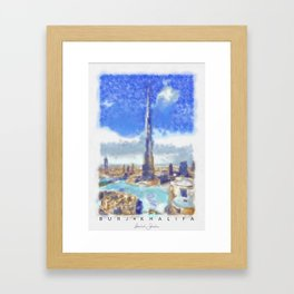 Burj Khalifa (watercolor) signed Framed Art Print