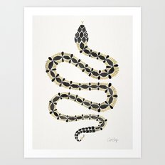 Serpent – Black & Gold Art Print
