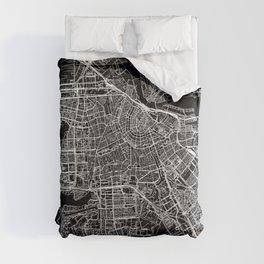 Amsterdam Black Map Comforters