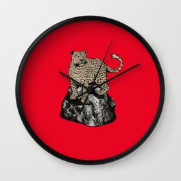 CHEETAH ON THE ROCKS Wall Clock