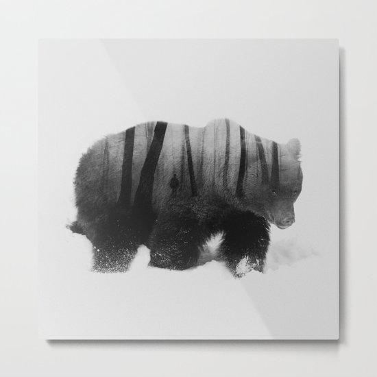 Watched by Grizzly Bear (black & white version) Metal Print