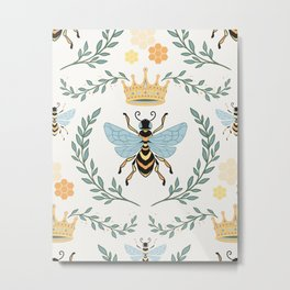 Queen Bee with Gold Crown and Laurel Frame Metal Print