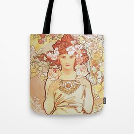 Rose by Alphonse Mucha 1897 // Vintage Girl with Red Hair Floral Love Design Tote Bag