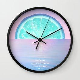 When life gives you lemons - Surreal Lemon Collage Sunset Wall Clock