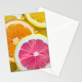Orange, Pink & Yellow Fruit Slices Stationery Cards