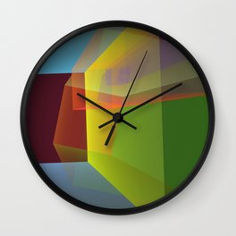 Modern colourful translucent cubism Wall Clock