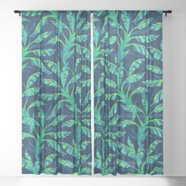 Paradise Leaves - Green Sheer Curtain