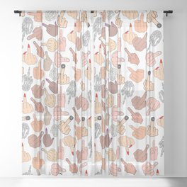 Middle Fingers Sheer Curtain