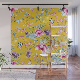 Yellow Chinoiserie Asian Floral Print Wall Mural