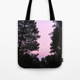 Pink sunrise. Into the woods. Tote Bag