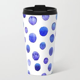 Blue polka dot watercolor pattern Travel Mug