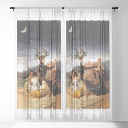 Francisco de Goya - Witches Sabbath (El Aquelarre) 1798 Artwork for Wall Art, Prints, Posters, Tshir Sheer Curtain