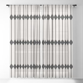 Minimal Geometric Pattern - Black and White Sheer Curtain