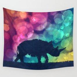 Pop Art Rhinoceros Wall Tapestry