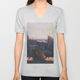 new york city skyline and couple-romance on the rooftop Unisex V-Neck