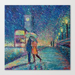 Lovers in Rainy London - romantic city landscape for Valentines day by Adriana Dziuba Canvas Print