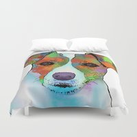 jack russell Duvet Covers featuring Jack Russell Dog by Marlene Watson